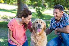 Happy couple with their dog in the park Stock Photo