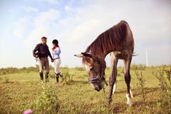 Happy couple with their horse Royalty Free Stock Photography