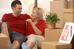 Happy couple in their new home Stock Photography