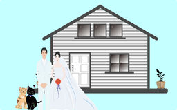 Happy couple with their new house Royalty Free Stock Photo