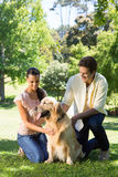 Happy couple with their pet dog in the park Royalty Free Stock Photos