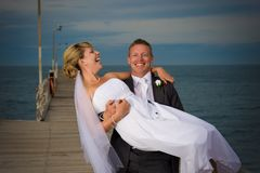 Happy couple on their wedding day. Royalty Free Stock Images