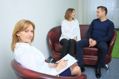 Happy couple therapy session is held at the Stock Image