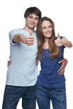 Happy couple with thumbs up Stock Photo