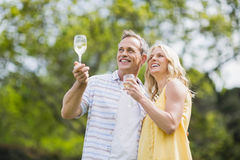 Happy couple toasting with champagne Stock Image