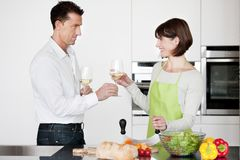Happy Couple Toasting With Glass Of Wine Stock Photo