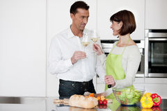 Happy Couple Toasting With Glass Of Wine Royalty Free Stock Image
