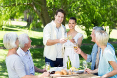 Happy couple toasting with their family Stock Image
