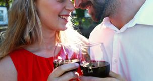 Happy couple toasting wine glasses in park 4k. Happy couple toasting wine glasses in park on a sunny day 4k stock footage