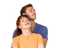 Happy couple together looking upwards Royalty Free Stock Photos