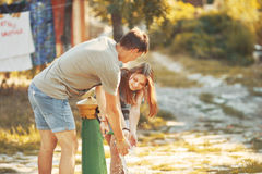Happy couple together spending  summer day. Royalty Free Stock Photos
