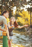 Happy couple together spending  summer day. Royalty Free Stock Images