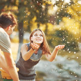 Happy couple together spending  summer day. Stock Image