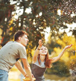 Happy couple together spending  summer day. Stock Photos