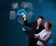 Happy couple touching cloud service Royalty Free Stock Photo