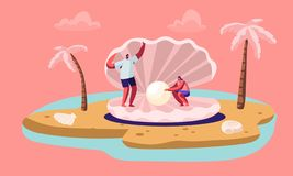 Happy Couple of Tourists Man and Woman Stand at Huge Seashell with Beautiful Pearl on Tropical Island Beach with Palm Trees vector illustration