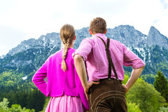 Happy couple in Alpine meadow Stock Photos