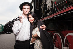 Happy couple of travelers Royalty Free Stock Photo