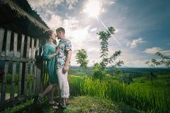Happy couple traveling at Bali, rice terraces of Jatiluwih, Ubud Stock Photography
