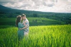 Happy couple traveling at Bali, rice terraces of Jatiluwih, Ubud Royalty Free Stock Images
