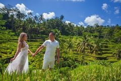 Happy couple traveling at Bali, rice terraces of Tegalalang, Ubud Stock Photo