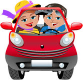 Happy Couple Travelling Car Isolated Royalty Free Stock Photography