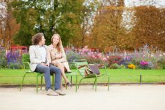 Happy couple in the Tuileries garden Royalty Free Stock Photography