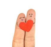 Happy couple two fingers i Royalty Free Stock Images