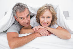 Happy couple under the duvet Royalty Free Stock Image