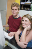 Happy Couple Using Computer Stock Images