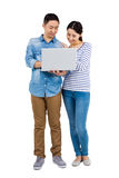 Happy couple using laptop Royalty Free Stock Photo