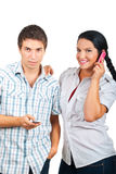 Happy Couple Using Phones Mobile Royalty Free Stock Photo