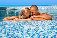 Happy couple on vacation Stock Images