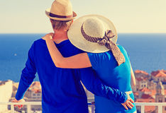 Happy couple on vacation in Europe Royalty Free Stock Photography