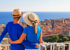 Happy couple on vacation in Europe. Happy couple on summer vacation in Europe stock photo