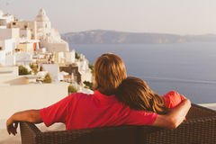 Happy couple on vacation in Santorini, Greece Stock Photography