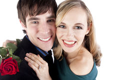 Happy couple on valentine's day. A happy couple hugs on valentine's day Stock Photos