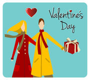 Happy Couple Valentines day greeting card Royalty Free Stock Image