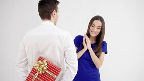 Happy couple on Valentines day. Man holding gift box stock video