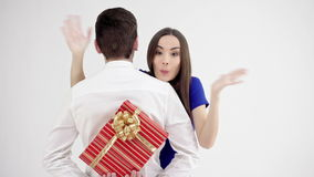 Happy couple on Valentines day. Man holding gift box stock video footage