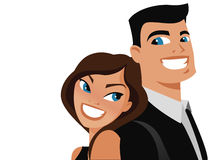 Happy couple vector. Happy couple back to back smiling Royalty Free Stock Images