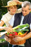 Happy couple in vegetable garden Royalty Free Stock Photography