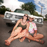 Happy Couple with Vintage Car Royalty Free Stock Photo