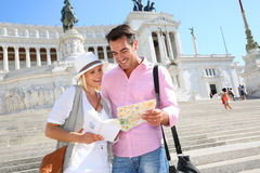 Happy couple visiting Rome on sunny day Stock Photography