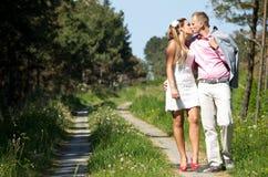 Happy couple walk Stock Photos
