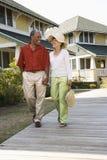 Happy couple walking. stock images