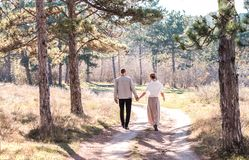 Happy couple walking in the autumn forest. stock images