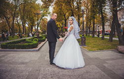 Happy couple walking in autumn Park Royalty Free Stock Image