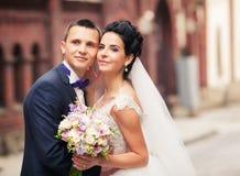 Happy couple walking in Lviv Royalty Free Stock Photo