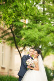 Happy couple walking in Lviv Royalty Free Stock Photography